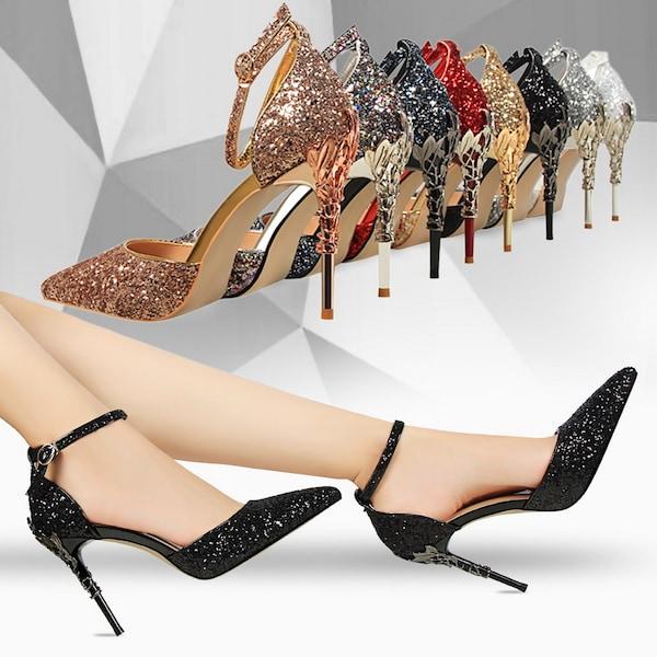 حذاء نسائي ذو كعب عالٍ مقدمة مدببة متلألئة