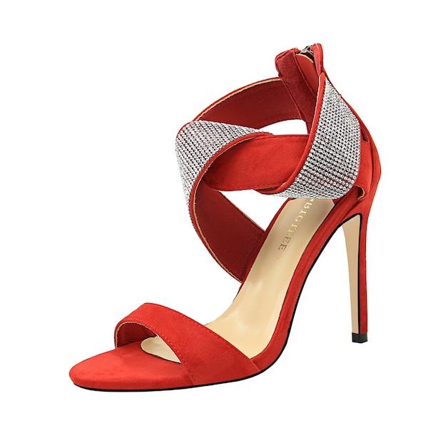 حذاء نسائي مرصع حجر الراين ذات كعب عالٍ إغلاق السوستة