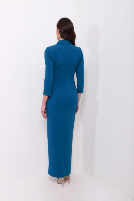 فستان بحزام فتحة أمامية