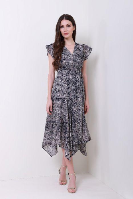 فستان لف بطبعة أكمام قصيرة مموجة