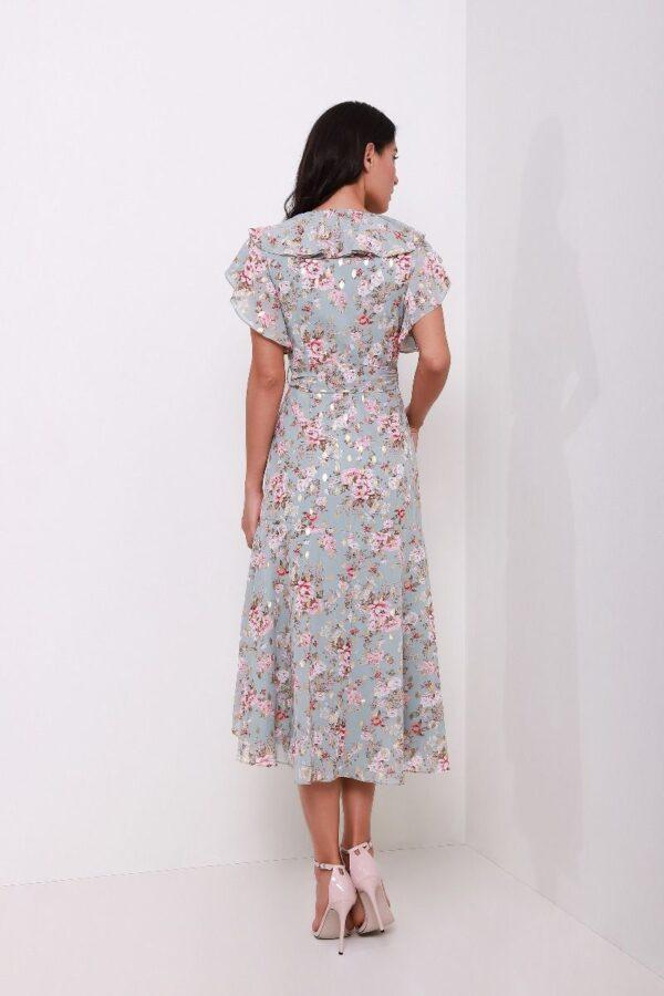 فستان لف مورد أكمام قصيرة