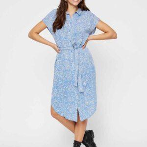 فستان مطبوع برباط الخصر وأزرار من الأسفل لون أزرق