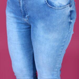بنطلون جينز أزرق مقاس كبير نسائي
