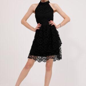 فستان أسود قصير برباط ياقة نسائي