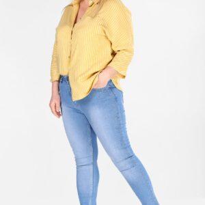 بنطلون جينز كحلي بفصوص مقاس كبير