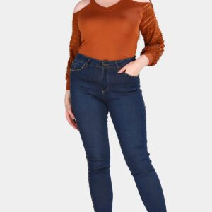 جينز كحلي مقاس كبير نسائي