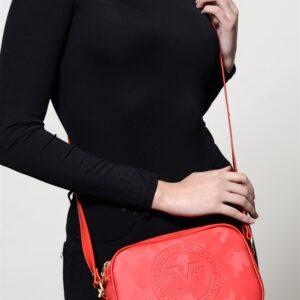 حقيبة حمراء بسحاب نسائية