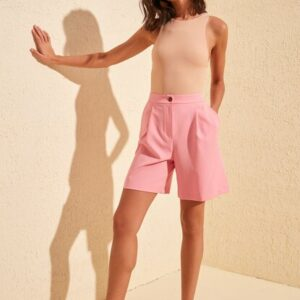 Women's Pocket Detail Pink Shorts