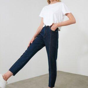 بنطلون جينز للأمهات أزرق متعدد اللون بخصر مرتفع نسائي