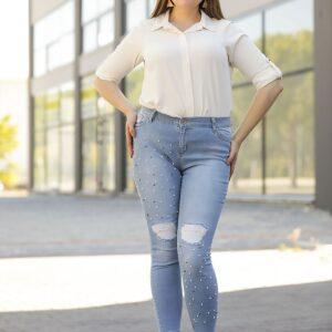 جينز أزرق بلالئ مقاس كبير