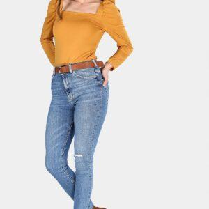 بنطلون جينز أزرق بتقطيعات نسائي