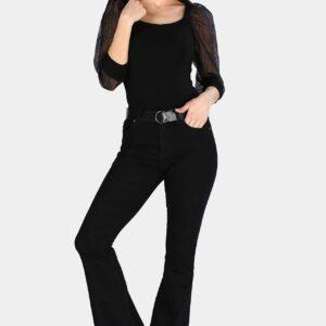 بنطلون جينز واسع أسود نسائي