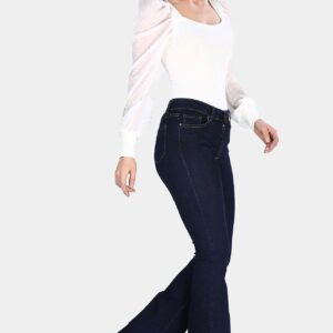 بنطلون جينز واسع كحلي نسائي