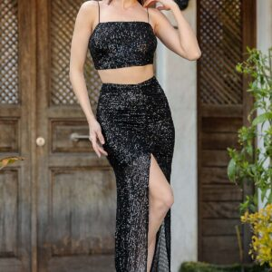 Women's Sequined Black Long Skirt & Crop Blouse Set
