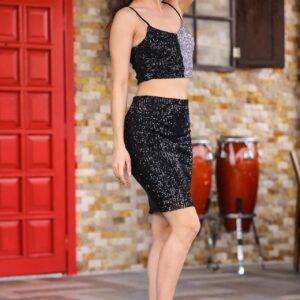 Women's Sequined Black 2 Pieces Set