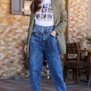 بنطلون جينز أزرق بأرجل واسعة نسائي