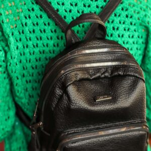 Women's Zipped Black Backpack