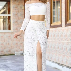 Women's Slit Sequin Ecru Long Skirt & Lace Crop Blouse Set