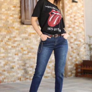 بنطلون جينز كحلي بحزام نسائي