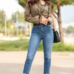 بنطلون جينز بطول الكاحل بشراشيب نسائي