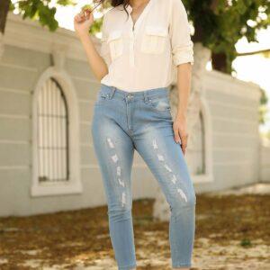 جينز ازرق فاتح مقاس كبير
