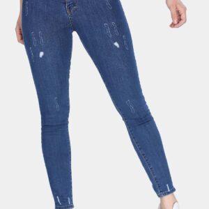 بنطلون جينز أزرق غامق بتقطيعات نسائي