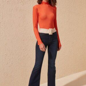 بنطلون جينز واسع كحلي بخصر مرتفع نسائي