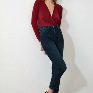بنطلون جينز للأمهات كحلي بخصر مرتفع نسائي