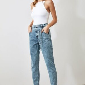Women's Belted High Waist Blue Mom Jeans