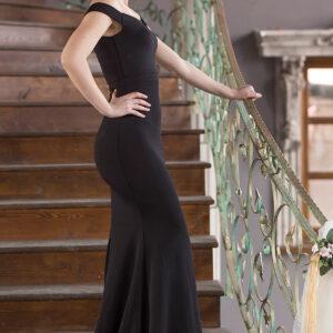 فستان طويل أسود بأكتاف مفصلة نسائي