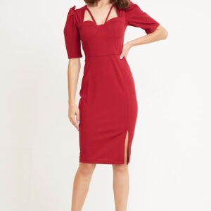 Women's Front Slit Claret Red Short Pencil Dress