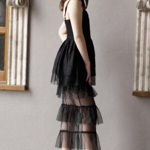 فستان سهرة أسود مكشكش بحمالات رفيعة نسائي