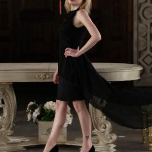 فستان سهرة أسود طويل من الخلف نسائي