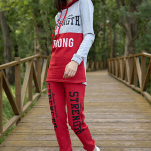 Women's Text Print Red Tracksuit