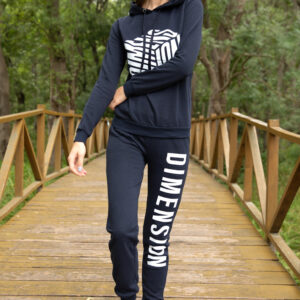 Women's Text Print Navy Blue Tracksuit