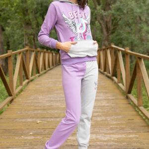 ملابس رياضية ليلاه متعددة الألوان بطبعة شعار نسائية