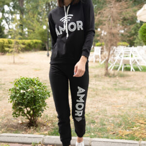 Women's Text Print Black Tracksuit