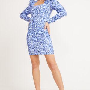 فستان قصير مزخرف بورود ورقبة مربعة نسائي