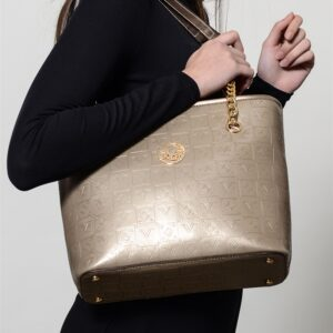 Women's Patterned Gold Bag