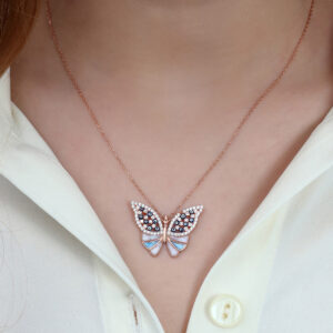 Women's Multi-color Zircon Gemmed Butterfly Pendant 925 Carat Silver Necklace