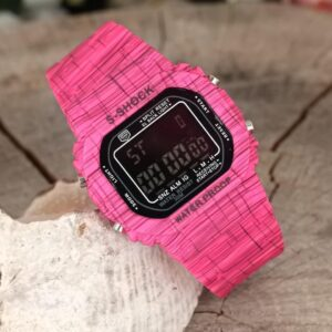 Women's Fuchsia Square Case Patterned Silicone Corded Sports Watch