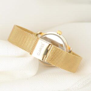 Women's Gold Plated Straw Metal Corded Smoky Metal Case Watch