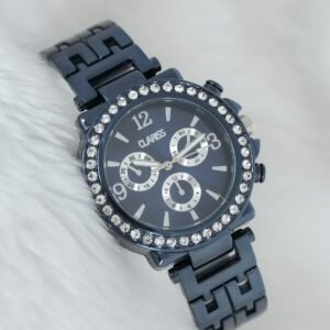 Women's Gemmed Case Navy Blue Metal Watch