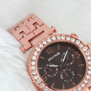 Women's Gemmed Case Copper Metal Watch