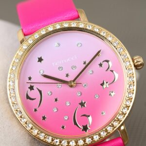 Women's Pink Leather Corded Gold Zircon Gemmed Case Watch