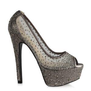 حذاء بكعب تول رمادي غامق بفصوص نسائي