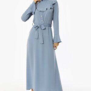 فستان طويل كريب بأزرار وحزام مفصل بياقة نسائي