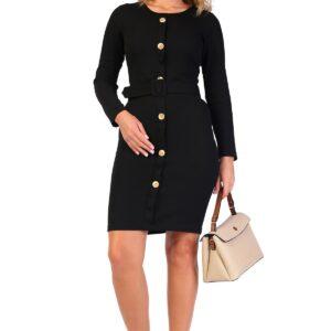 فستان قصير بأزرار وحزام نسائي
