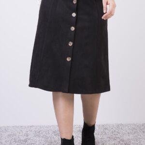 تنورة ميدي جلد سويدي بأزرار نسائية