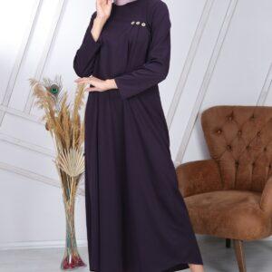 فستان طويل محتشم مفصل بأزرار ورقبة دائرية نسائي